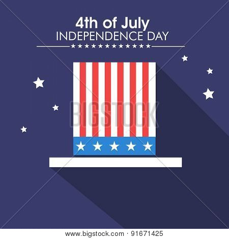 4th of July, American Independence Day celebration with illustration of long hat on stars decorated blue background.