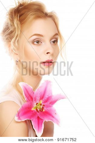 young woman with pink lily