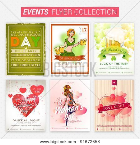 Set of beautiful events flyers and banners for party celebration.