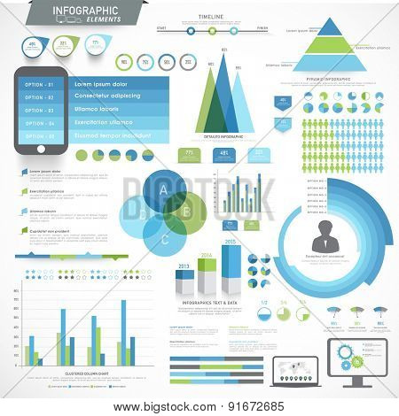 Big set of various infographic elements with statistical graphs for your business reports and financial growth presentation.
