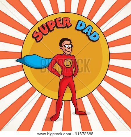 Happy Father's Day celebration concept with Super Dad on vintage red rays background.