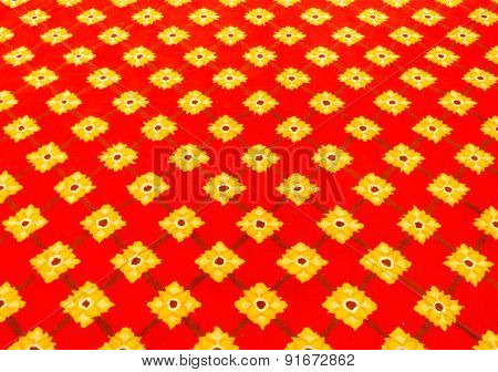 Red Carpet With Flower Pattern