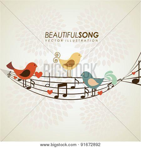 Bird design over beige background vector illustration