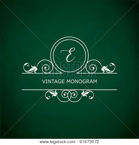 Monogram of the letter E, in retro floral style on green chalkboard background. EPS10 vector format