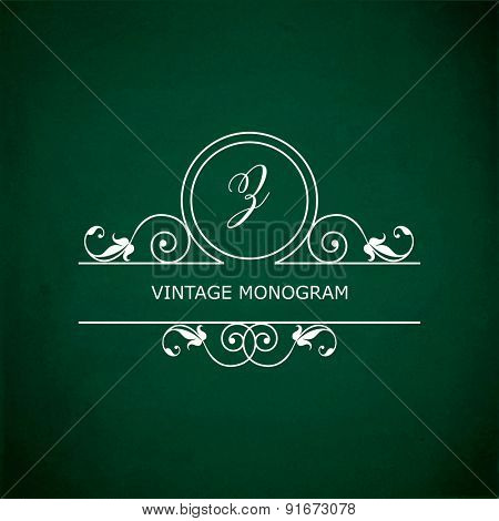 Monogram of the letter Z, in retro floral style on green chalkboard background. EPS10 vector format
