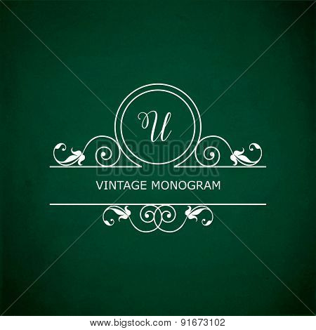 Monogram of the letter U, in retro floral style on green chalkboard background. EPS10 vector format