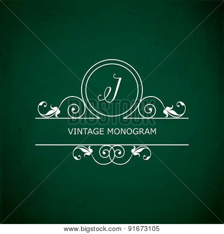 Monogram of the letter I, in retro floral style on green chalkboard background. EPS10 vector format