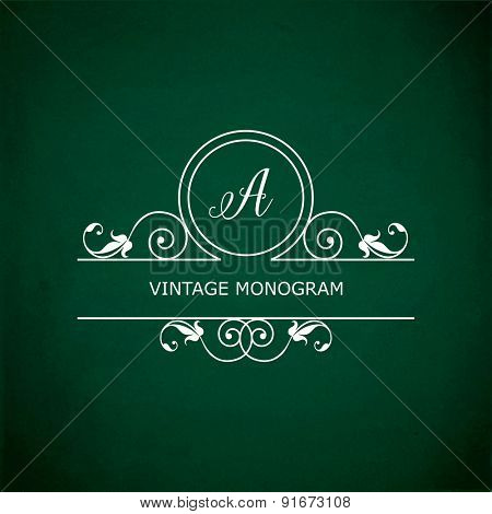 Monogram of the letter A, in retro floral style on green chalkboard background. EPS10 vector format