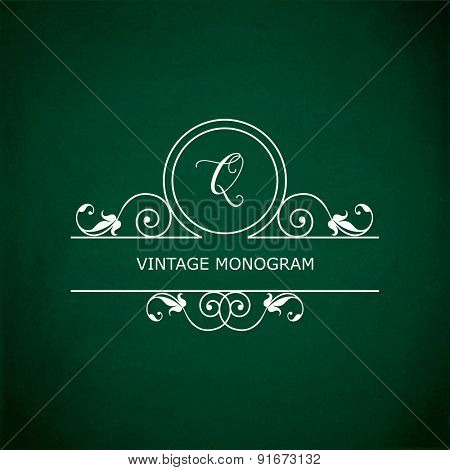 Monogram of the letter Q, in retro floral style on green chalkboard background. EPS10 vector format