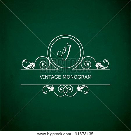 Monogram of the letter J, in retro floral style on green chalkboard background. EPS10 vector format