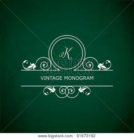 Monogram of the letter K, in retro floral style on green chalkboard background. EPS10 vector format