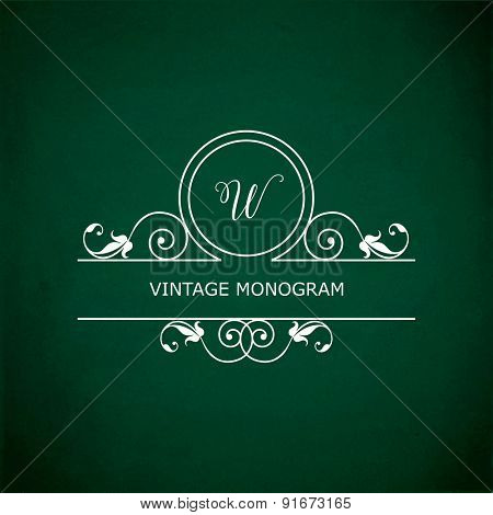 Monogram of the letter W, in retro floral style on green chalkboard background. EPS10 vector format