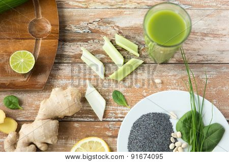 healthy eating, vegetarian super  food, culinary and diet concept - close up of superfood ingredients on wooden table