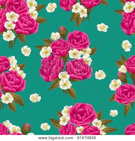 Seamless pattern with beautiful roses in watercolor style