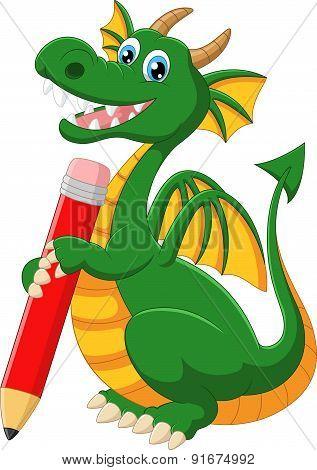 Cartoon green dragon holding red pencil