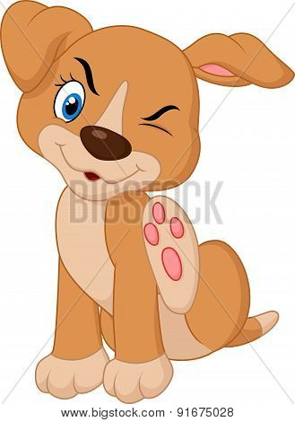 Cartoon A young Pit Bull puppy scratching an itch