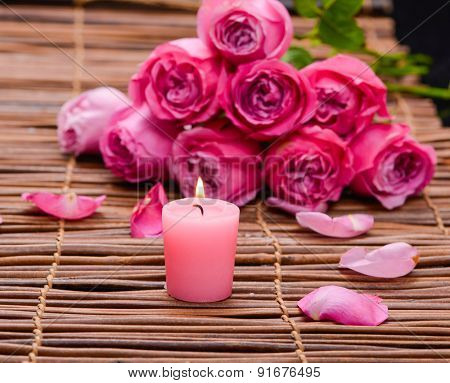 bouquet rose with candle and mat texture