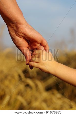 Hands of mother and daughter holding each other on field