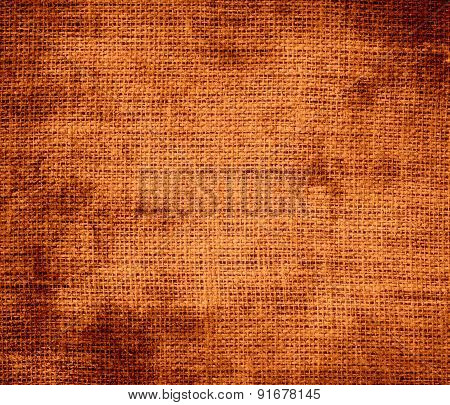 Grunge background of cinnamon burlap texture