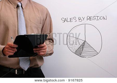Man Explaining A Pie Chart