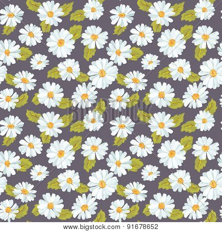 Vintage Floral Daisy Background - seamless pattern for design, print, scrapbook - in vector