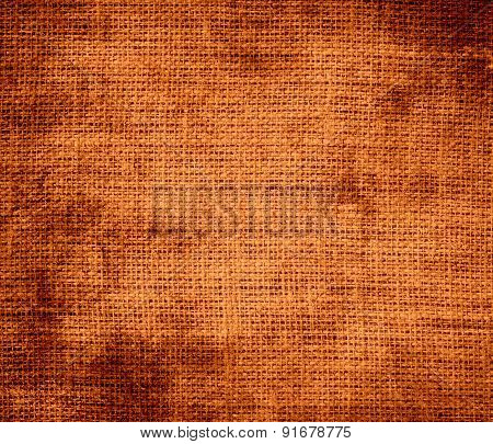 Grunge background of cocoa brown burlap texture