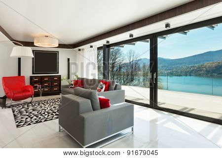 architecture, modern house, beautiful living room, interior