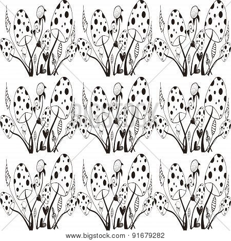 Seamles Pattern With Wild Mushrooms