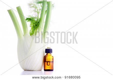 bottle of fennel essential oil - beauty treatment