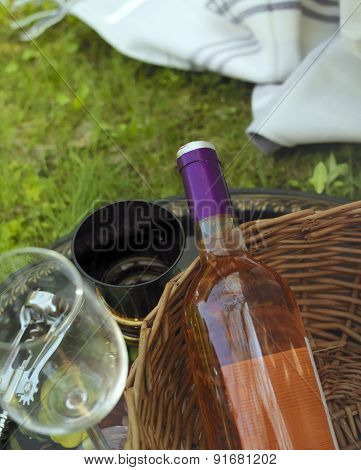 Wine Bottle At Picnic