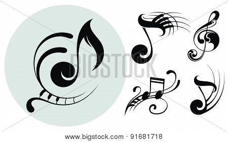 Ornamental music notes