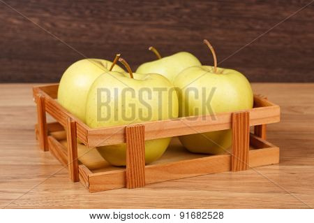 Four Fresh Green Apples