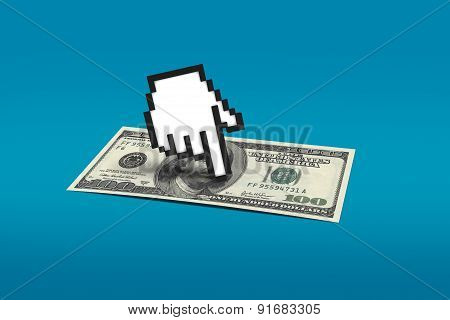 Hand Cursor Pointing Dollar Banknote