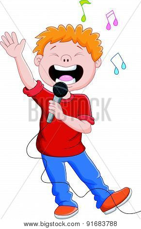 Cartoon singing happily while holding the mic