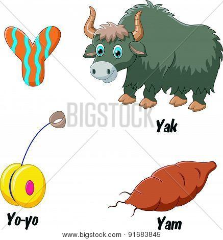 Cartoon Y alphabet