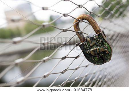 Rusty Love Padlock Lock