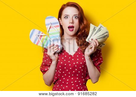 Girl In Red Dress With Flip Flops And Money