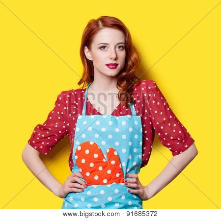 Girl In Red Dress With Mittens