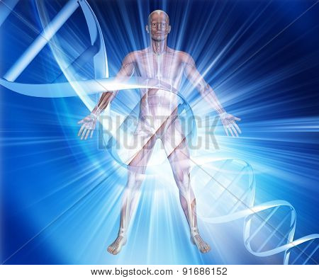 3D render of a male medical figure on an abstract DNA background