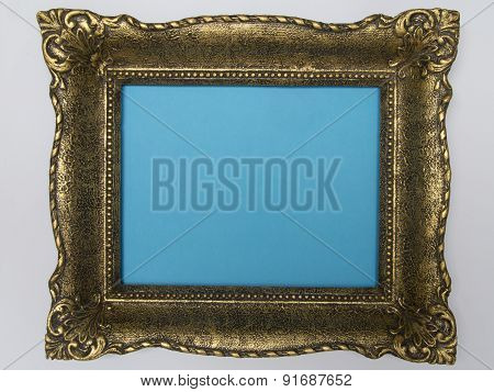 Antique frame blue background
