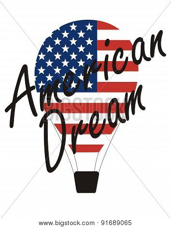 vector inscription - American dream and Air Balloon, painted in the colors of the American flag