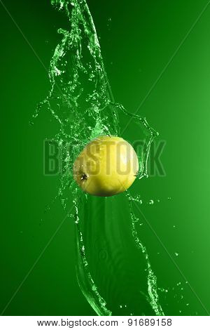 Green Apple With Water Splash, On Green