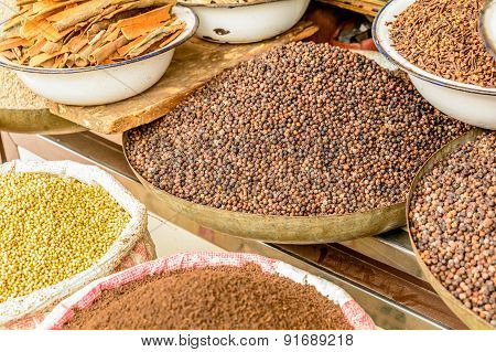 Indian Spices In The Local Market In New Delhi