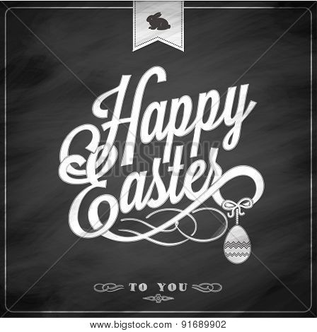 Happy Easter Typographical Background On Blackboard With Chalk