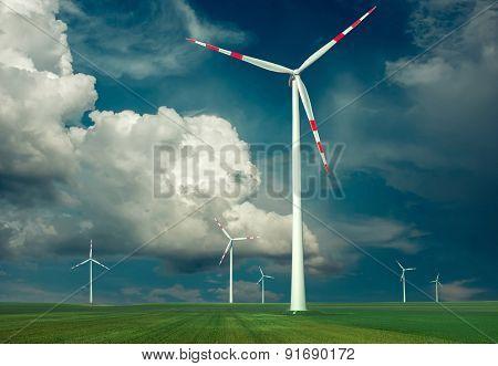 Windmills outdoor under sky.