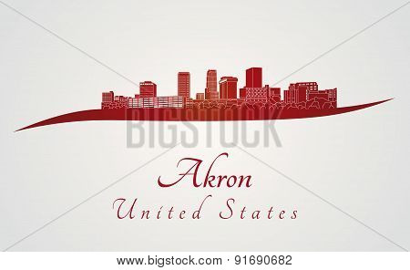 Akron Skyline In Red