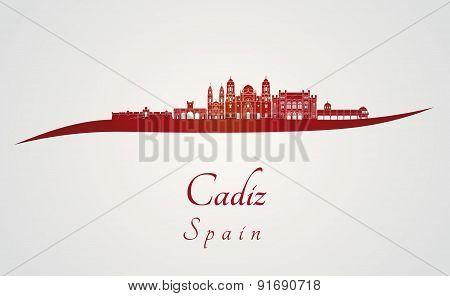 Cadiz Skyline In Red