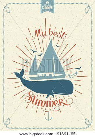 My Best Summer Vintage Vector Background