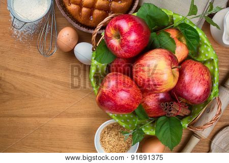 Ingredients for apple pie cooking