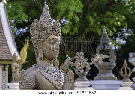 Wat Chedi Luang Chiang Mai in Thailand. It is an ancient pagoda.